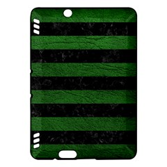 Stripes2 Black Marble & Green Leather Kindle Fire Hdx Hardshell Case by trendistuff