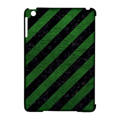 Stripes3 Black Marble & Green Leather Apple Ipad Mini Hardshell Case (compatible With Smart Cover) by trendistuff