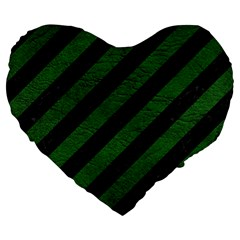 Stripes3 Black Marble & Green Leather Large 19  Premium Flano Heart Shape Cushions by trendistuff