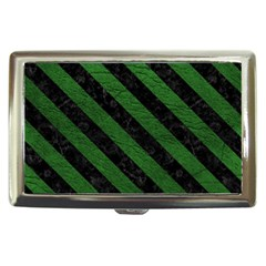 Stripes3 Black Marble & Green Leather (r) Cigarette Money Cases by trendistuff