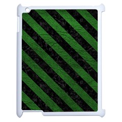 Stripes3 Black Marble & Green Leather (r) Apple Ipad 2 Case (white) by trendistuff