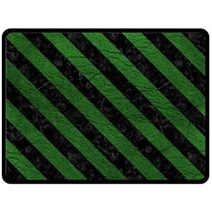 Stripes3 Black Marble & Green Leather (r) Double Sided Fleece Blanket (large)  by trendistuff