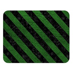 Stripes3 Black Marble & Green Leather (r) Double Sided Flano Blanket (large)  by trendistuff