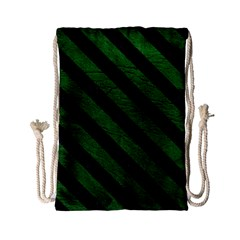 Stripes3 Black Marble & Green Leather (r) Drawstring Bag (small) by trendistuff