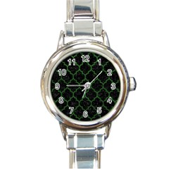 Tile1 Black Marble & Green Leather Round Italian Charm Watch by trendistuff