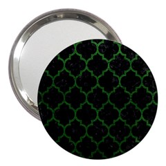 Tile1 Black Marble & Green Leather 3  Handbag Mirrors by trendistuff