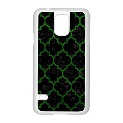 Tile1 Black Marble & Green Leather Samsung Galaxy S5 Case (white) by trendistuff