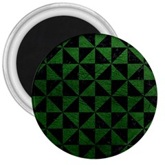 Triangle1 Black Marble & Green Leather 3  Magnets by trendistuff
