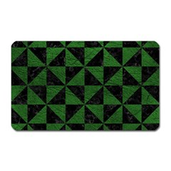 Triangle1 Black Marble & Green Leather Magnet (rectangular) by trendistuff