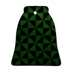 Triangle1 Black Marble & Green Leather Bell Ornament (two Sides) by trendistuff