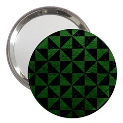 Triangle1 Black Marble & Green Leather 3  Handbag Mirrors by trendistuff