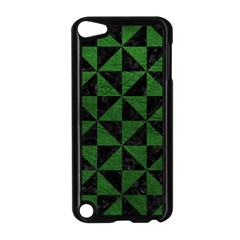 Triangle1 Black Marble & Green Leather Apple Ipod Touch 5 Case (black) by trendistuff