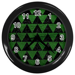 Triangle2 Black Marble & Green Leather Wall Clocks (black) by trendistuff