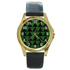 Triangle2 Black Marble & Green Leather Round Gold Metal Watch by trendistuff