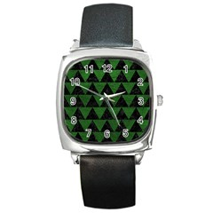 Triangle2 Black Marble & Green Leather Square Metal Watch by trendistuff