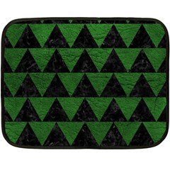 Triangle2 Black Marble & Green Leather Fleece Blanket (mini) by trendistuff