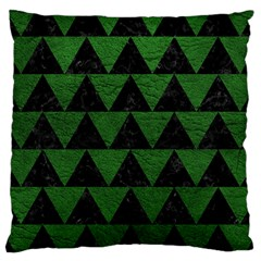 Triangle2 Black Marble & Green Leather Large Cushion Case (one Side) by trendistuff
