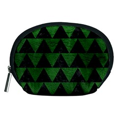 Triangle2 Black Marble & Green Leather Accessory Pouches (medium)  by trendistuff