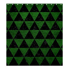 Triangle3 Black Marble & Green Leather Shower Curtain 66  X 72  (large)  by trendistuff