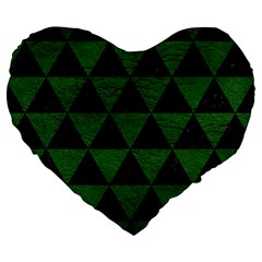 Triangle3 Black Marble & Green Leather Large 19  Premium Flano Heart Shape Cushions by trendistuff