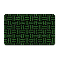 Woven1 Black Marble & Green Leather Magnet (rectangular) by trendistuff