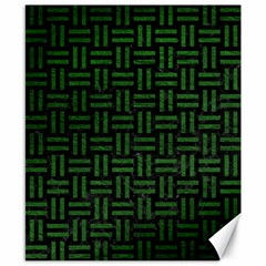 Woven1 Black Marble & Green Leather Canvas 8  X 10