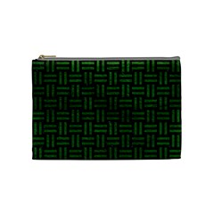 Woven1 Black Marble & Green Leather Cosmetic Bag (medium)