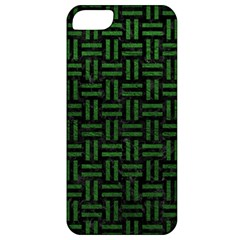Woven1 Black Marble & Green Leather Apple Iphone 5 Classic Hardshell Case