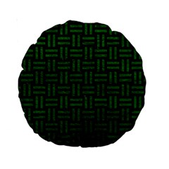 Woven1 Black Marble & Green Leather Standard 15  Premium Round Cushions by trendistuff