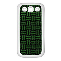 Woven1 Black Marble & Green Leather Samsung Galaxy S3 Back Case (white) by trendistuff