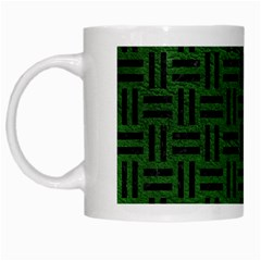 Woven1 Black Marble & Green Leather (r) White Mugs by trendistuff