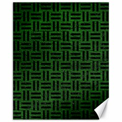 Woven1 Black Marble & Green Leather (r) Canvas 16  X 20   by trendistuff