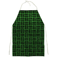 Woven1 Black Marble & Green Leather (r) Full Print Aprons by trendistuff