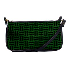 Woven1 Black Marble & Green Leather (r) Shoulder Clutch Bags by trendistuff