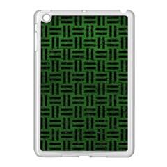 Woven1 Black Marble & Green Leather (r) Apple Ipad Mini Case (white) by trendistuff
