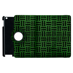 Woven1 Black Marble & Green Leather (r) Apple Ipad 3/4 Flip 360 Case by trendistuff