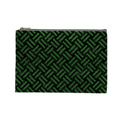 Woven2 Black Marble & Green Leather Cosmetic Bag (large)  by trendistuff