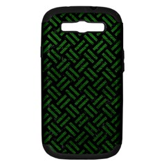 Woven2 Black Marble & Green Leather Samsung Galaxy S Iii Hardshell Case (pc+silicone) by trendistuff
