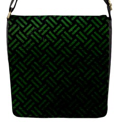 Woven2 Black Marble & Green Leather Flap Messenger Bag (s) by trendistuff