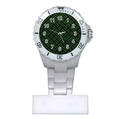 Woven2 Black Marble & Green Leather Plastic Nurses Watch by trendistuff