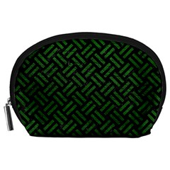 Woven2 Black Marble & Green Leather Accessory Pouches (large)  by trendistuff