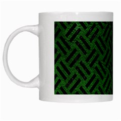 Woven2 Black Marble & Green Leather (r) White Mugs by trendistuff