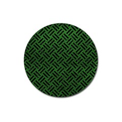 Woven2 Black Marble & Green Leather (r) Magnet 3  (round) by trendistuff