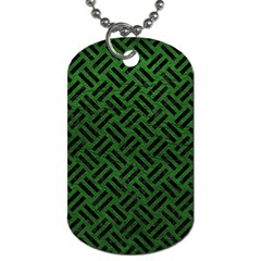 Woven2 Black Marble & Green Leather (r) Dog Tag (one Side) by trendistuff
