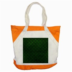 Woven2 Black Marble & Green Leather (r) Accent Tote Bag by trendistuff