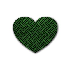 Woven2 Black Marble & Green Leather (r) Heart Coaster (4 Pack)  by trendistuff