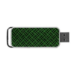 Woven2 Black Marble & Green Leather (r) Portable Usb Flash (one Side) by trendistuff