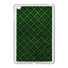Woven2 Black Marble & Green Leather (r) Apple Ipad Mini Case (white) by trendistuff