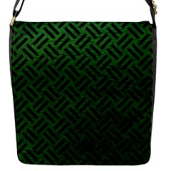 Woven2 Black Marble & Green Leather (r) Flap Messenger Bag (s) by trendistuff