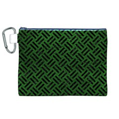 Woven2 Black Marble & Green Leather (r) Canvas Cosmetic Bag (xl) by trendistuff